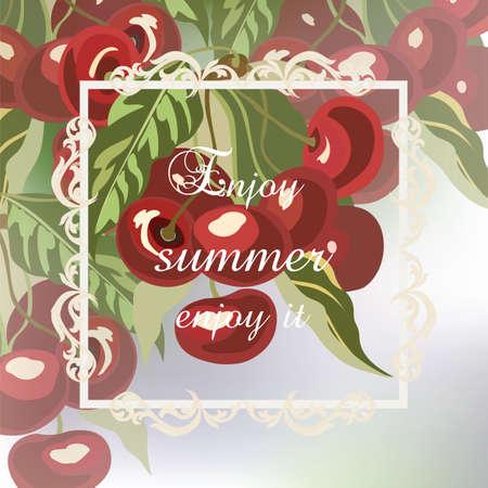 Enjoy Summer Cherry fruits Card. Watercolor Vector cherry Illustration