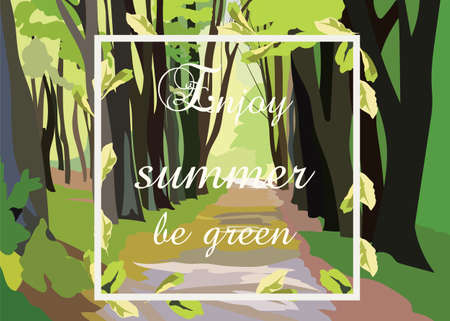 walking path: Green Forrest Trees Vector. Forrest woods background with perspective walking path road