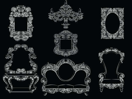 console table: Glamorous Rich Baroque Rococo Furniture set. French Luxury rich carved ornaments furniture. Vector Victorian exquisite Style decor