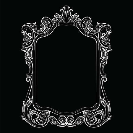 sophisticate: Baroque Rococo Mirror frame decor. Vector Luxury Rich carved Frame. Victorian Style frame