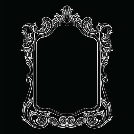 mirror frame: Baroque Rococo Mirror frame decor. Vector Luxury Rich carved Frame. Victorian Style frame