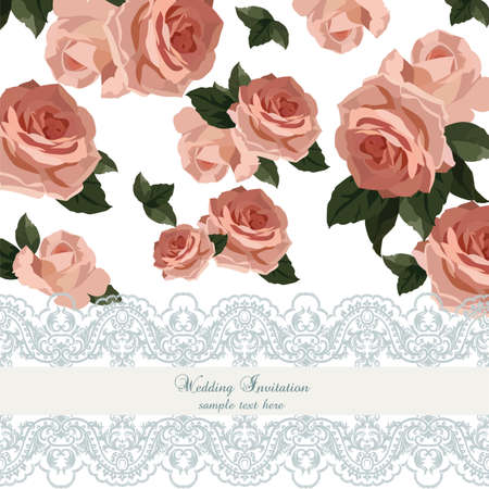 crochet: Vintage Watercolor Roses flowers Card with lace border. Vector Retro delicate card crochet lace. Rose quartz flowers and serenity