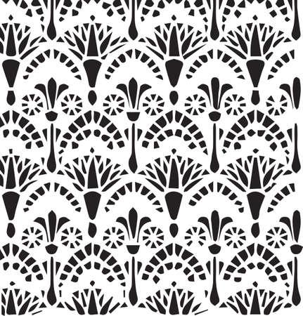 Vector vintage Egyptian ornament floral pattern. Vector egypt  style ornament background Illustration