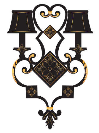 scone: Baroque Elegant Rich Wall lamp with golden ornaments.Vector  Elegant Royal Baroque Style Wall lamp Illustration