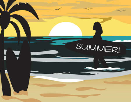 Summer Beach Vector with surf silhouette woman