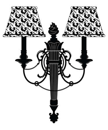 scone: Baroque Elegant Rich Wall lamp with ornaments.Vector  Elegant Royal Baroque Style Wall lamp