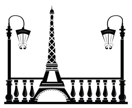 Paris Rue Walkway avec Tour Eiffel. Vector sketch Banque d'images - 59941438