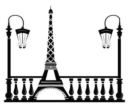 Paris Rue Walkway avec Tour Eiffel. Vector sketch
