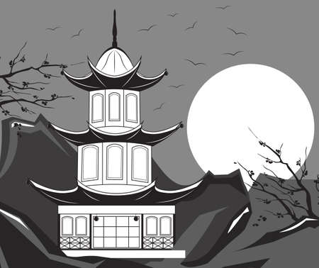japanese temple: Traditional Japanese Temple Vector. Mountain landscape background in black and white Illustration