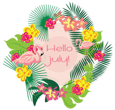 palm wreath: Summer Card wreath with flamingo, palm leaves and flowers Travel tropic Card. Vector Holiday Exotic background Illustration
