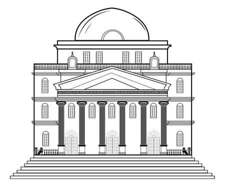 ベクトル建築ファサード。ワイヤー フレームの青写真はクラシックな建物の図面します。ベクトル アーキテクチャ テンプレートの背景