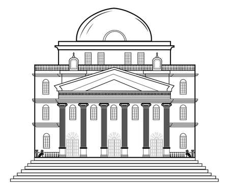 Vector architectural facade. Wire frame blueprint drawing of classic building. Vector architectural template background