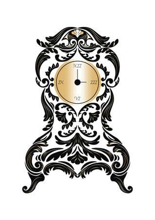 ornamented: Baroque Classic Golden clock Vector. Rich ornamented Baroque Style clock