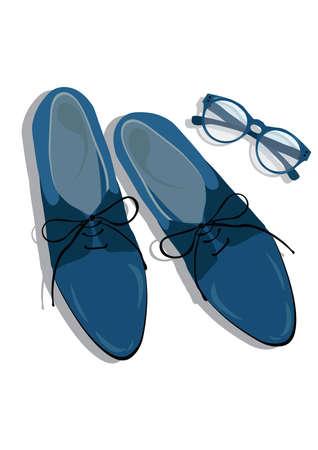 shoe box: Male shoes top view. Elegant shoes Vector Illustration