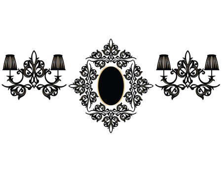 mirror and frame: Vintage Frame with lamps. Baroque Mirror frame with wall lamps. Vector rich ornamented frame. French Luxury rich carved ornament frame and Wall lamps. Vector Victorian wealthy Style frame