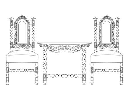 classic furniture: Set of classic furniture with rich ornaments. Vector Illustration
