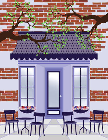 wedding table decor: Vector illustration Provence style Cafe outdoors Spring Summer background