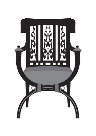 refinement: Vintage Chair furniture Vector. Rich carved ornaments furniture. Vector Victorian Style furniture. Vector sketch