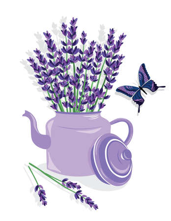 Watercolor illustration of lavender flowers in a Pot. French Provence Vintage flowers and butterfly composition. Floral art for home decoration, organic shop. Natural flowers in retro style. Vector