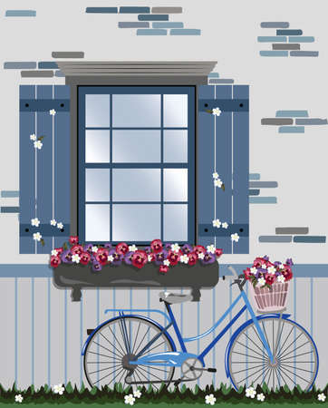 provence: Vintage Bicycle and Flowers under the window. Vector illustration Provence style outdoors Spring Summer background