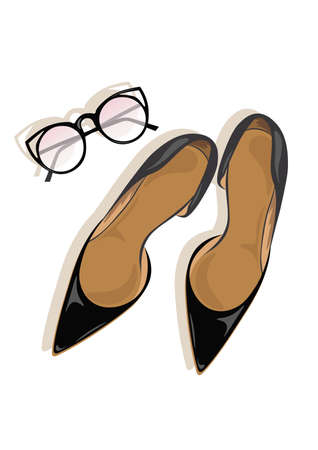 stiletto: Black High Heels stiletto shoes Vector Illustration