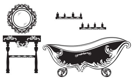 baroque furniture: Rich Baroque Rococo bathroom set. French Luxury rich carved ornaments furniture. Vector Victorian exquisite Style decor Illustration