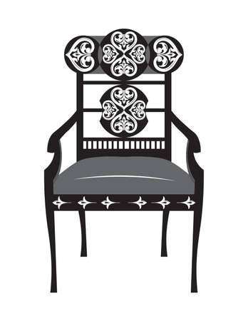 Classic biedermeier style furniture. Chair throne with rich ornaments. English carved ornaments furniture. Vector Victorian exquisite Style furniture. Vector sketch Illustration