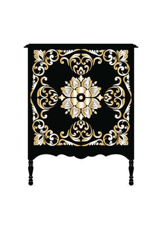 baroque furniture: Vector Vintage Baroque furniture Dressing Table. French Golden Luxury rich carved ornaments furniture.Victorian Royal Style furniture Illustration