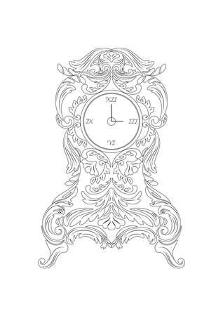 ornamented: Vintage Baroque Classic clock Vector. Rich ornamented Baroque Style clock