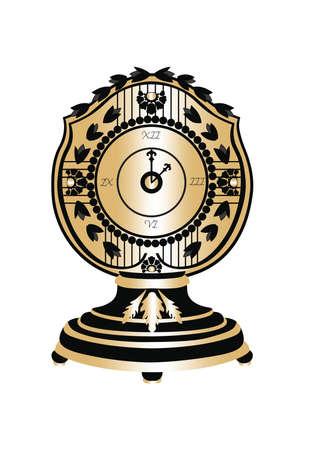 magic hour: Classic Round Golden clock Vector