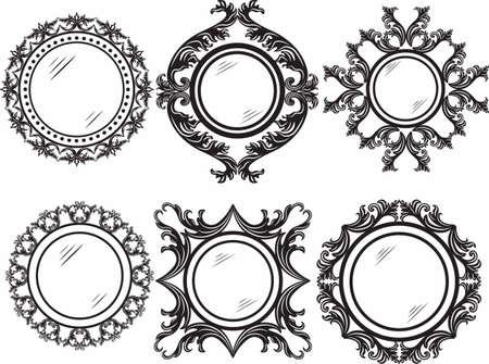 ornamented: Set of Vintage Retro Round Vector frames. Black and white ornamented workframe Illustration
