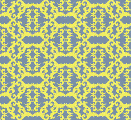 neoclassic: Vintage Acanthus leaves pattern ornament background. Abstract Floral neoclassic ornament pattern background. Vintage pattern in yellow color