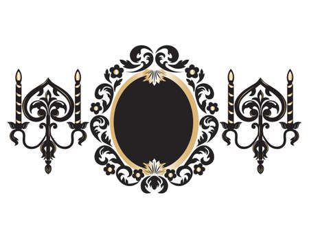 baroque room: Vintage Frame with lamps. Baroque Mirror frame with wall lamps. Vector rich ornamented frame. French Luxury rich carved ornament frame and Wall lamps. Vector Victorian wealthy Style frame