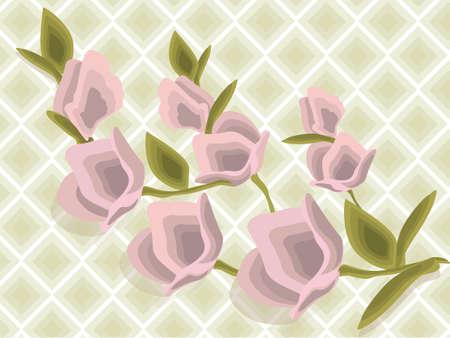 Flower bouquet pattern Vector illustration Spring Summer background. Geometric Diamond Watercolor technique floral decor