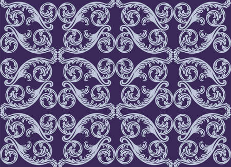 royal blue: Vector damask pattern ornament. Exquisite Baroque element template. Classical luxury fashioned damask ornament, Royal Victorian texture for wallpapers, textile, wrapping. Royal blue color