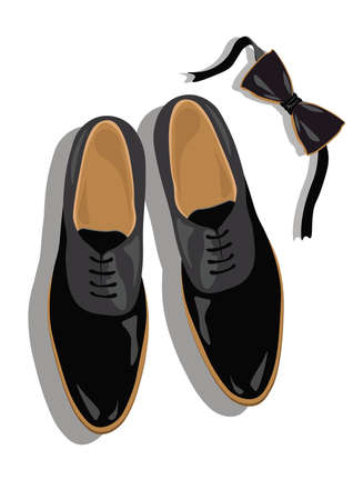 businessman shoes: Black classic male shoes top view. Black elegant shoes and bow Vector
