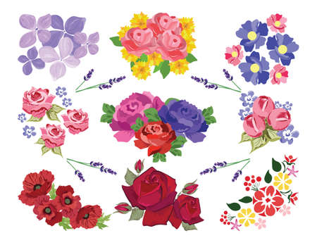 Vector Spring Summer floral set. Colorful floral collection with leaves and flowers, watercolor. Spring or summer flowers for invitation, wedding or greeting cards