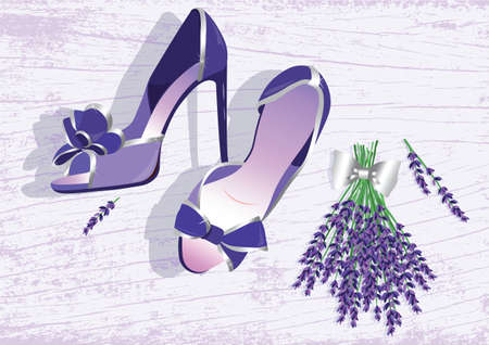 High heels shoes. Lavender shoes Vector