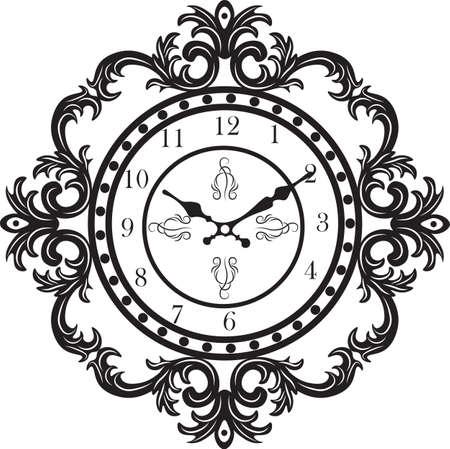 ornamented: Baroque Classic Round Golden clock Vector. Rich ornamented Baroque Style clock