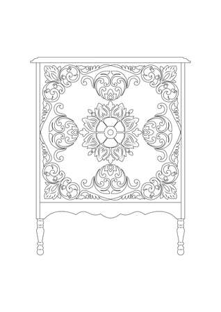 console table: Vintage Vector Rich Commode Table. French Luxury rich carved ornaments furniture. Vector Victorian Royal Style furniture