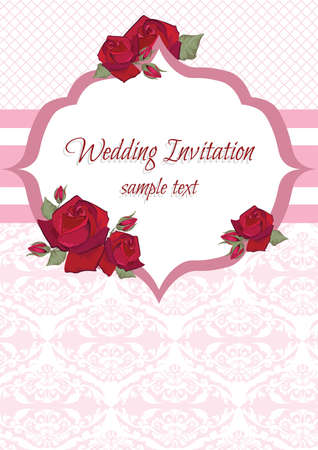 ornamented: Wedding Invitation Card with lace ornaments and flowers. Vector ornamented card