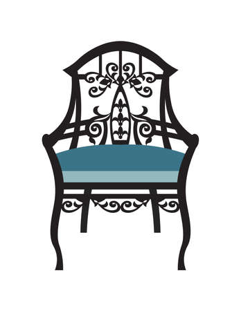 Vintage Chair furniture Vector. Rich carved ornaments furniture. Vector Victorian exquisite Style furniture. Vector sketch