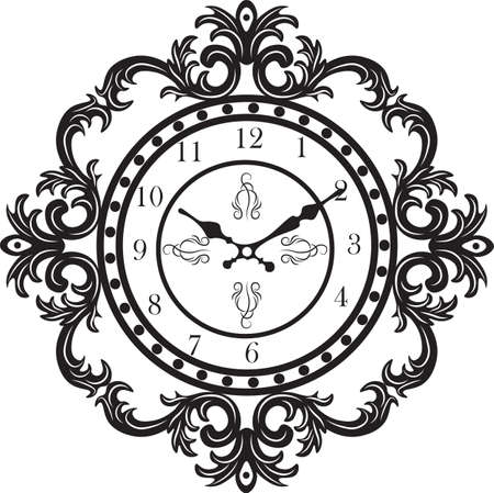 Vintage Classic clock. Baroque Antique ornamented Vector clock