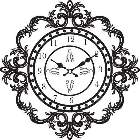 Old Antique Horloge Murale Isolé Sur Blanc. Vector Illustration Clip ...