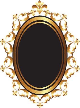 Golden Baroque frame van de spiegel decor. Vector Franse luxe rijk gesneden ornamenten en Wall Frames. Victoriaanse Royal stijlframe Vector Illustratie