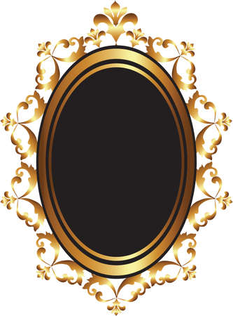 Golden Baroque Mirror frame decor. Vector French Luxury rich carved ornaments and Wall Frames. Victorian Royal Style frame