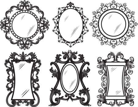 ornamented: Set of Vintage Retro Vector frames. Black and gold ornamented frames