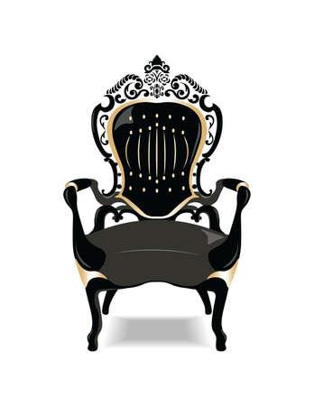 Mobili d'epoca barocca dorata sedia. disegno vettoriale