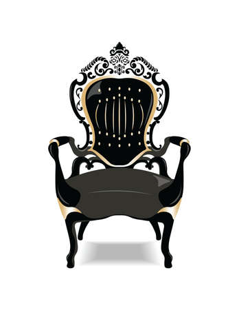 Vintage Baroque Golden Chair Furniture. Vector sketch