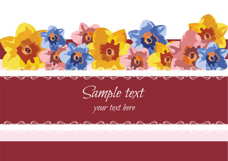 spring summer: Greeting Card with Spring Summer Flowers Vector